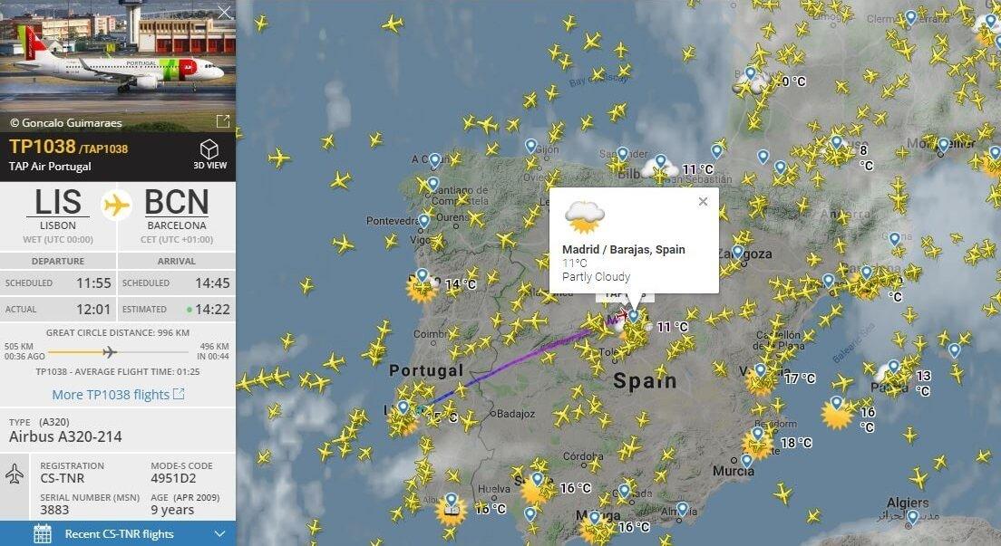 El tiempo en flightradar24
