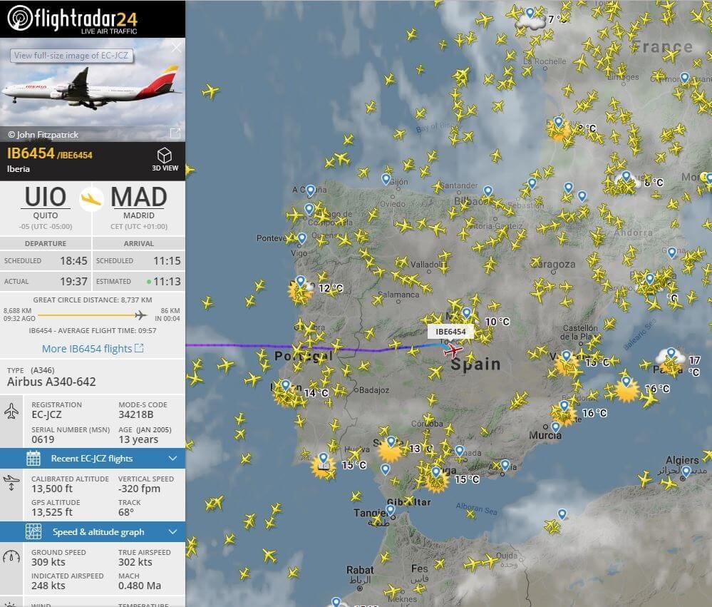 Información sobre el avión en radar24