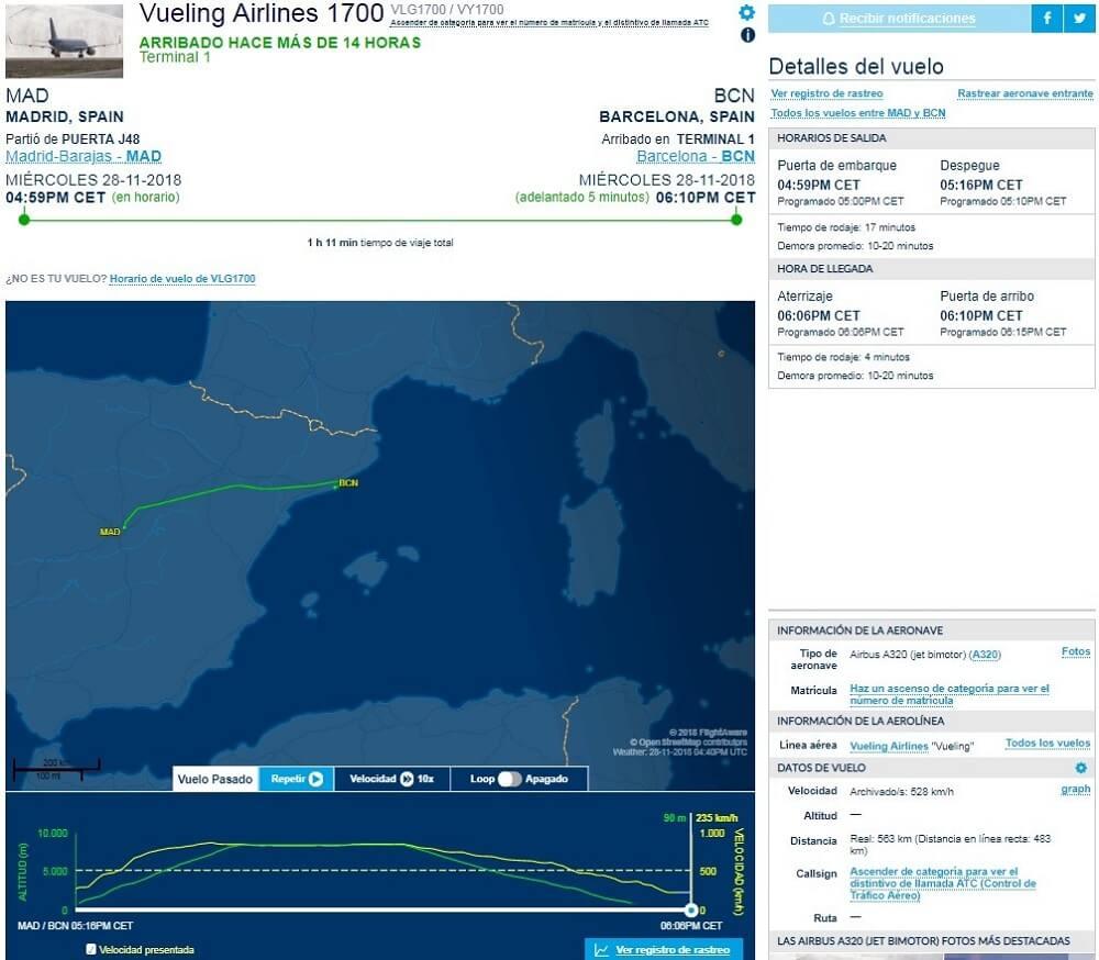 Rastrear vuelos con FlightAware